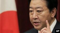 16일 일본 도쿄에서 기자회견을 가진 노다 요시히코 일본 총리.