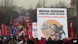 Turkish citizens in Ankara, the capital, protest reported corruption by the Erdogan government