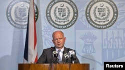 Britain's Foreign Secretary William Hague speaks during a news conference in Islamabad, Pakistan, June 12, 2012.