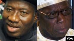 Shugaba Goodluck Jonathan da Tsohon Shugaba Olusegun Obasanjo. Sun amince da taron kasa kuwa?