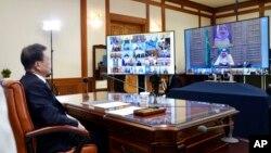 """Президент Південної Кореї Мун Чже Ін під час віртуальної зустрічі із лідерами країн """"Групи двадцяти"""", 26 березня 2020"""