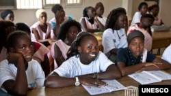 Girls in Senegal take literacy classes.