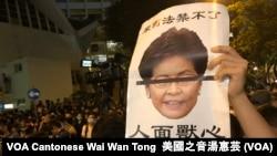 示威者高舉諷刺香港特首林鄭月娥的標語 (攝影:美國之音湯惠芸)