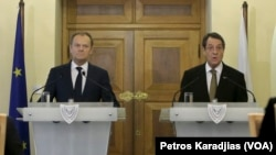 Nikos Anastasiadis, Donald Tusk'la ortak basın toplantısında