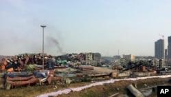 지난달 12일 폭발 사고로 폐허가 된 톈진항. (자료사진)
