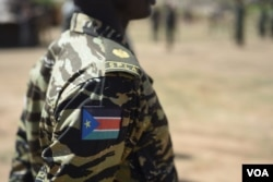 The South Sudanese flag on the uniform of a government soldier at Jebel Makor, 45 minutes outside of South Sudan's capital Juba, April 14, 2016. (Credit: Jason Patinkin)
