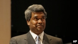 FILE - Google's new cloud chief Thomas Kurian is shown speaking at an Oracle and Sun Strategy Update event in Redwood City, Jan. 27, 2010, while serving as Oracle Executive Vice President of product development.