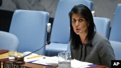 FILE - U.S. UN Ambassador Nikki Haley address the Security Council.
