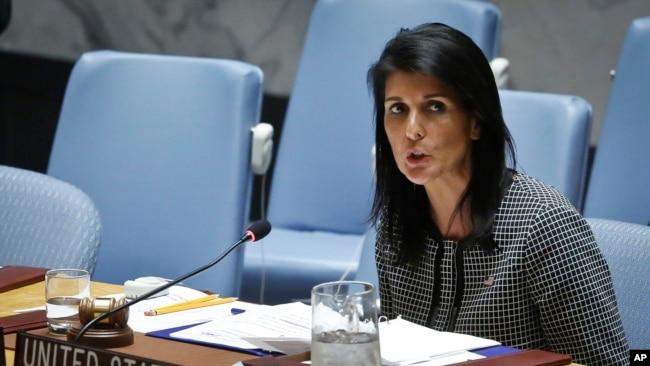 Đại sứ Mỹ tại Liên Hiệp Quốc, bà Nikki Haley, nói đã đến lúc gửi một thông điệp mạnh mẽ hơn nữa tới Bắc Hàn.