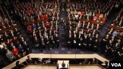 El presidente Barack Obama habla ante las dos cámaras del Congreso de Estados Unidos, en un discurso ttelevisado a toda la nación.