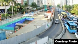 Konstruksi jalur MRT di Jakarta.