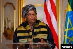 FILE - Liberia's President Ellen Johnson-Sirleaf addresses a news conference during a visit to Ethiopia's capital Addis Ababa, Feb. 28, 2017.