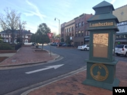 A scene in downtown Lumberton, North Carolina. (M. McKiterrick/VOA)