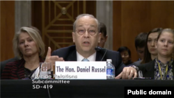 Assistant Secretary of State Daniel Russel testifies at a Senate hearing on Hong Kong, Dec. 3, 2014.