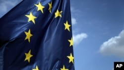 FILE - European Union flag.