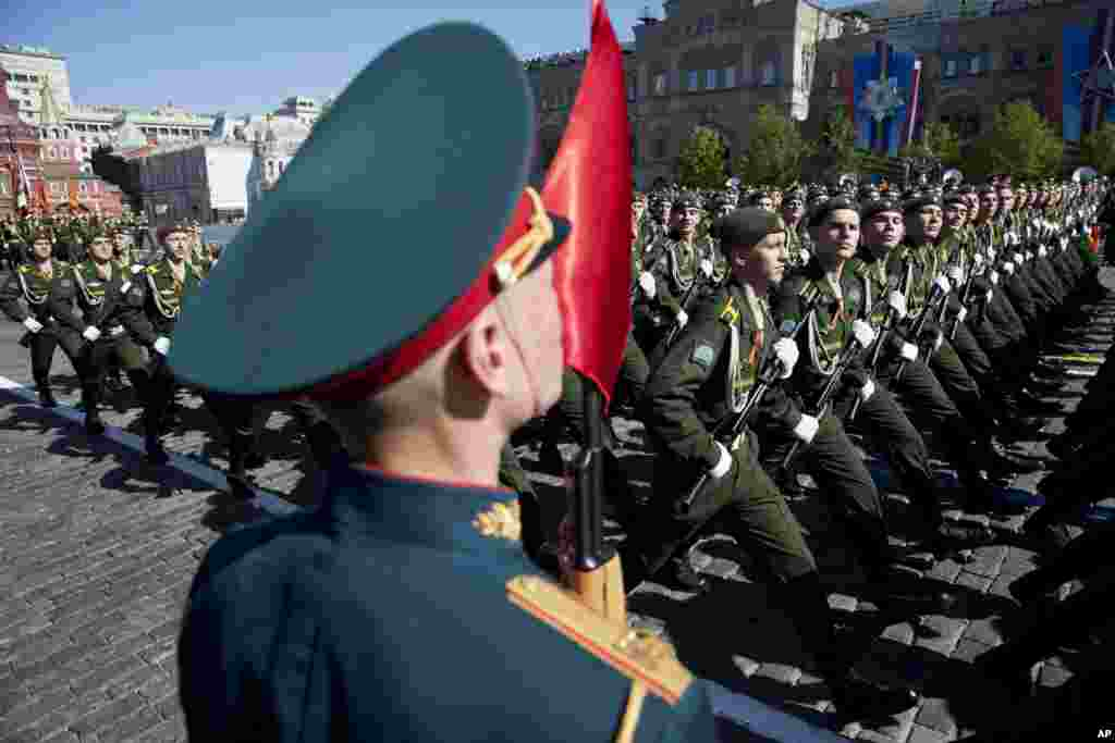 Russian soldiers march during the Victory Day Parade, which commemorates the 1945 defeat of Nazi Germany in Moscow.