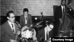 The Paul Togawa Quartet performing in Los Angeles. Left to Right. Gabe Baltazar, Paul Togawa, Dick Johnston, Buddy Woodson, circa late 1950s. (Courtesy Gabe Baltazar)