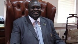 South Sudan's Vice-President Riek Machar, shown in his office, June 30, 2012, traveled to Jonglei state to try to kickstart peace talks with rebel leader David Yau Yau. (D. Clements/VOA)