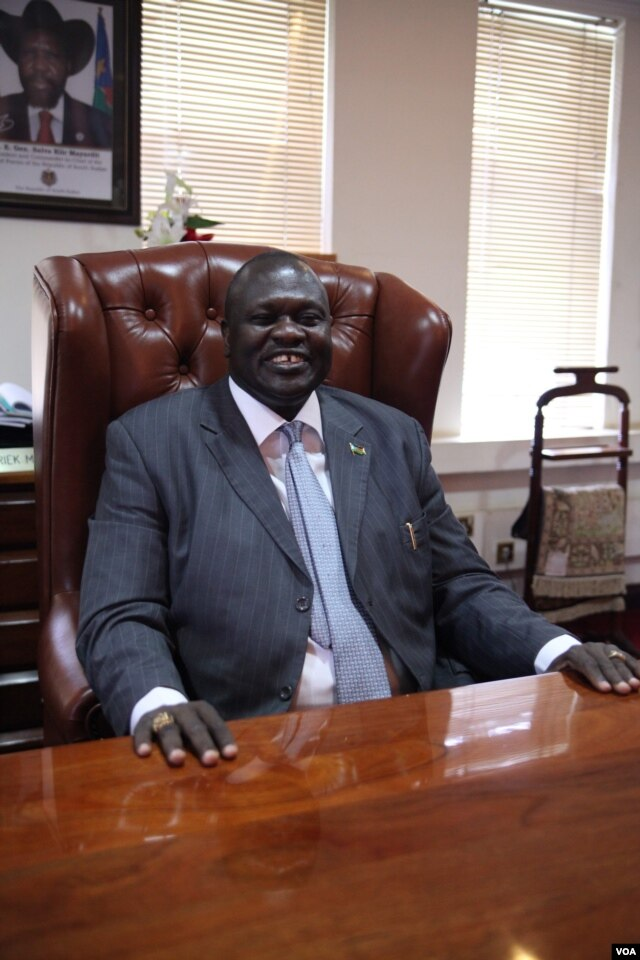 South Sudan's Vice-President Riek Machar is seated in his office, June 30, 2012.