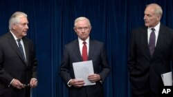 Secretary of State Rex Tillerson, Attorney General Jeff Sessions and Homeland Security Secretary John Kelly, make statements on issues related to visas and travel. (File)