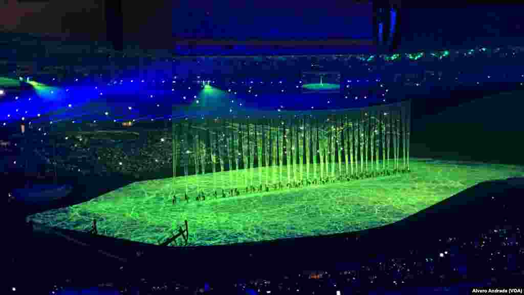 Opening ceremony of the Rio 2016 Olympics at Maracana Stadium.