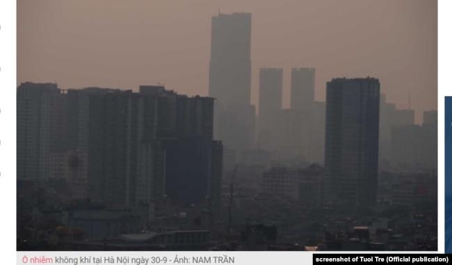 Ảnh về ô nhiễm không khí ở Hà Nội hôm 30/9/2019