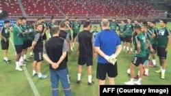 تیم ملی فوتبال افغانستان پیش از رقابت با سنگاپور