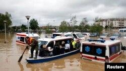 Poplavljeno područje oko Obrenovca