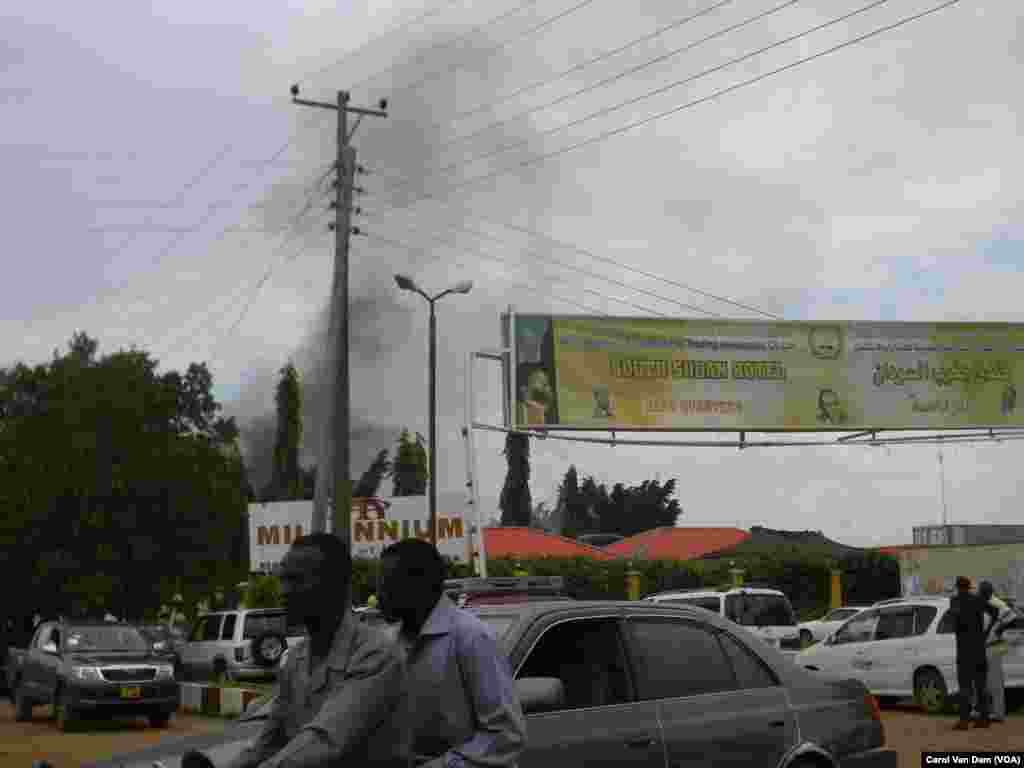Black smoke from the fire at the South Sudan Hotel, which was gutted by flames on Wednesday, Oct. 2, 2013, could be seen across Juba.