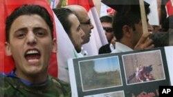亲政府示威者在欧盟驻叙利亚办事处前抗议(资料照)