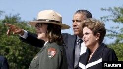 Президент США Барак Обама и президент Бразилии Дилма Руссефф. Вашингтон. 29 июня 2015 г.