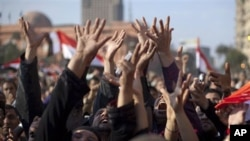 Anti-government protesters celebrating in Tahrir Square in downtown Cairo, Egypt , February 12, 2011