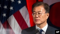 South Korean President Moon Jae-in speaks at a dinner hosted by the U.S. Chamber of Commerce and the South Korean Chamber of Commerce in Washington, June 28, 2017.
