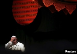 Pope Francis making as speech during a World Meeting of Popular Movements in Santa Cruz, Bolivia, July 9, 2015. The pope apologized for the sins committed by the Church against indigenous populations during the age of exploration and conquest of the New W