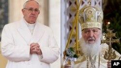 Папа Римский Франциск. Патриарх Московский и всея Руси Кирилл.