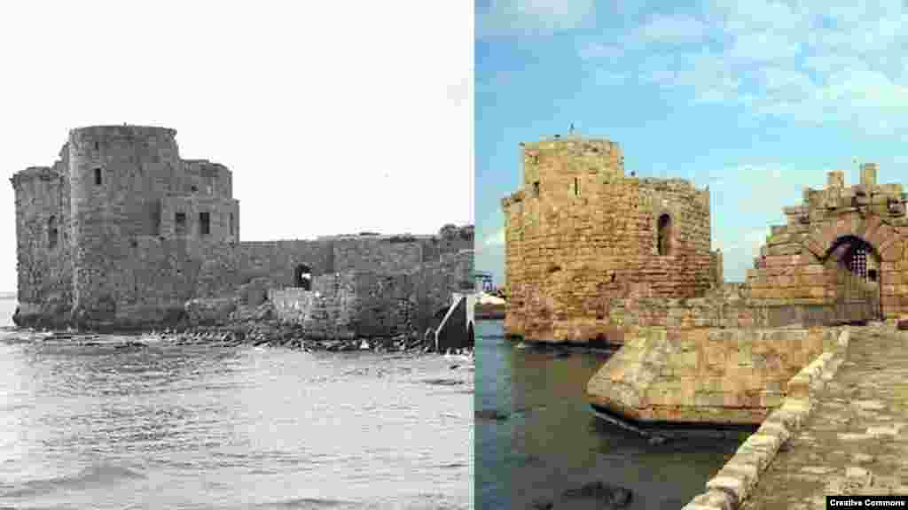 Legacy of the Crusades: Sea Castle at Saida (Sidon), Lebanon, built by Europeans in the 13th Century (L) American Colony (Jerusalem), ca. 1920-1933. Library of Congress. (R) 28 January 2004. Creative Commons/Кардам.