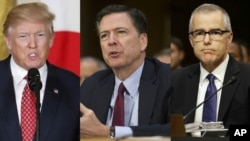From left, President Donald Trump, former FBI Director James Comey and acting FBI Director Andrew McCabe.
