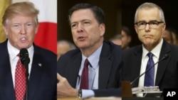(ពីឆ្វេងទៅស្តាំ) លោកប្រធានាធិបតី Donald Trump លោក James Comey អតីតនាយកភ្នាក់ងារ FBI និងលោក Andrew McCabe នាយកភ្នាក់ងារ FBI ស្តីទី។