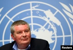FILE - Mike Ryan, Executive Director of the World Health Organization (WHO) attends a news conference on the Ebola outbreak in the Democratic Republic of Congo at the United Nations in Geneva, Switzerland, May 3, 2019.