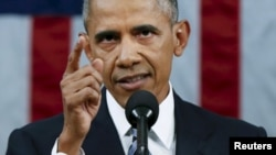 바락 오바마 미국 대통령이 12일 의회에서 2016년 국정연설을 하고 있다.