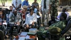 Jumpa pers PBB mengenai kelaparan di Sudan Selatan, di Juba (29/4). (AP/UNMISS)