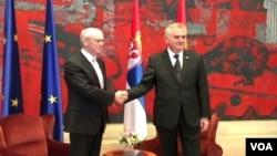 Predsednik Evropskog saveta Herman van Rompej i predsednik Srbije Tomislav Nikolić u Beogradu, 1. jul 2013.