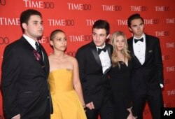 Parkland student activists Alex Wind, from left, Emma Gonzalez, Cameron Kasky, Jaclyn Corin and David Hogg attend the Time 100 Gala celebrating the 100 most influential people in the world in New York on April 24, 2018.