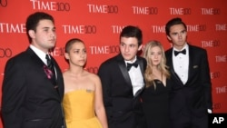 Parkland student activists Alex Wind, from left, Emma Gonzalez, Cameron Kasky​​​​, Jaclyn Corin and David Hogg attend the Time 100 Gala celebrating the 100 most influential people in the world in New York on April 24, 2018. (Photo by Evan Agostini/Invision/AP)