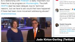 Nghị sĩ Jude Kirton-Darling, thành viên của Ủy ban Thương mại Quốc tế của Nghị viện châu Âu, thông báo việc hoãn phê chuẩn EVFTA trên trang Tweeter.