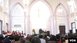 春節期間台北濟南教會(美國之音申華拍攝)