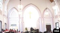 春节期间台北济南教会(美国之音申华拍摄)