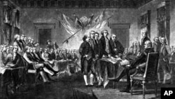 This engraving depicts the scene on July 4, 1776 when the Declaration of Independence was approved by the Continental Congress.