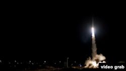 موشک شلیک شده از سیستم ضد هوایی «گنبد آهنین» اسرائیل