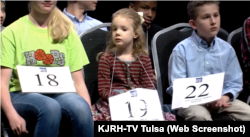 Five-year-old Edith Fuller takes part in the Scripps Green Country Regional Spelling Bee in Tulsa, Oklahoma (KJRH-TV Tulsa YouTube video screengrab)